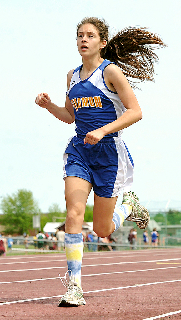 Hermon High Schol's Caitlin Barrows won the girls' 1600 meter run with the time of 5:57:45 during the multi-team track and field meet at the Orono High School Saturday.  BANGOR DAILY NEWS PHOTO BY GABOR DEGRE
