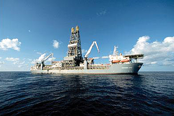 The drillship Discoverer Sprit, part of the Transocean fleet. The drill ship can operate at depths of up to 10,000 feet.  PHOTO COURTESY OF TRANSOCEAN INC.