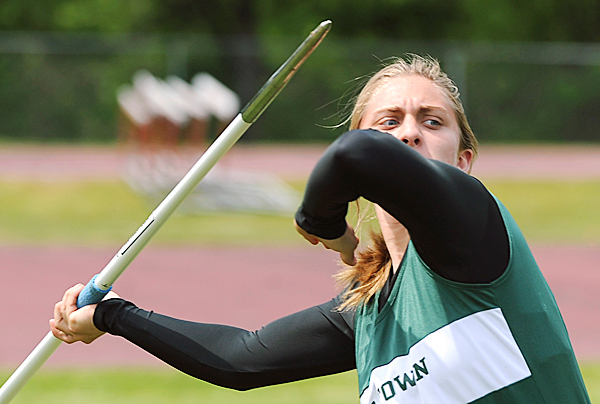 Old Town High School's Haley Prygrocki won the girl javelin with the distance of 103 feet during the multi-team track and field meet at the Orono High School Saturday.  (Bangor Daily News/Gabor Degre)