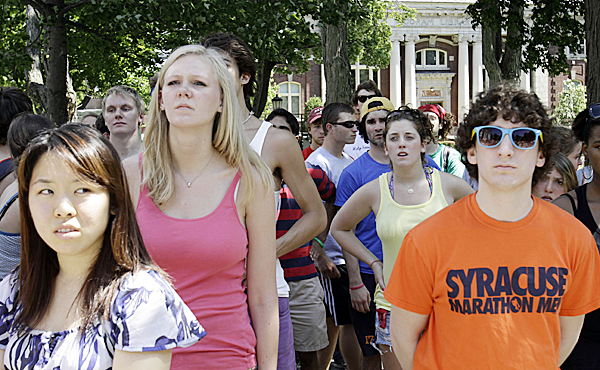 Students gather at Bates College in Lewiston, Maine on Wednesday, May 26, 2010.   An incident involving students being arrested occurred the night before, where some students claim they were injured by police actions. ( AP Photo/Pat Wellenbach)