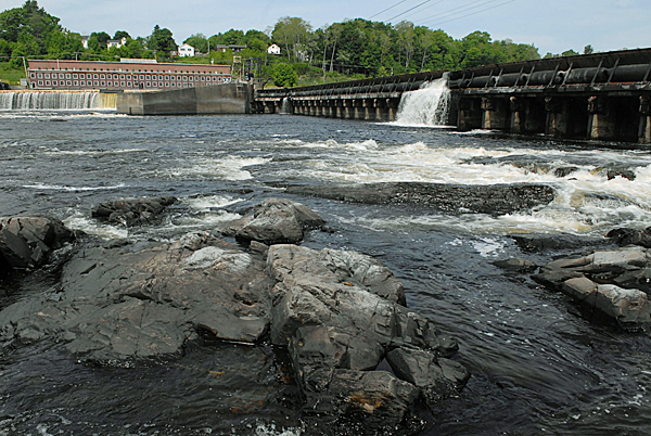 A view of Veazie Dam, seen from the Bradley side of the Penobscot River Tuesday, May 25, 2010. Since starting this year's survey on May 3, DMR fisheries biologists have counted 242 salmon at the trap. BANGOR DAILY NEWS PHOTO BY JOHN CLARKE RUSS