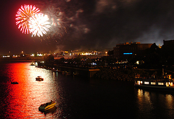 The Bangor Fourth of July fireworks display is seen from the Joshua Chamberlain Bridge on Wednesday night. For $1, spectators could watch the annual display from the bridge.  (BANGOR DAILY NEWS PHOTO BY KATE COLLINS)