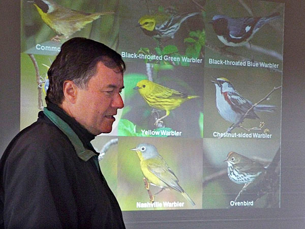 Bob Duschene, a Maine birding expert, teaches attendees at the seventh annual Down East Birding Festival how to identify birds by their calls. More than a hundred people from all over the country flocked to the festival, which continues through Monday.  BANGOR DAILY NEWS PHOTO BY SHARON KILEY MACK