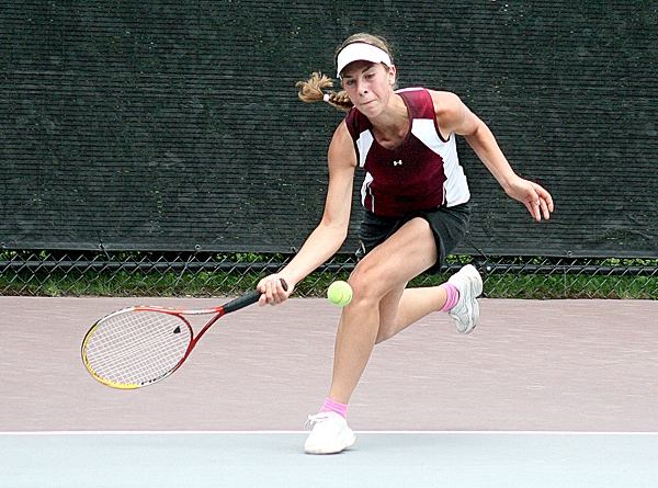 Jenna Selander of Caribou, the No. 8 seed, returns a shot to No. 1 Analise Kump of Falmouth during their quarterfinal match at the MPA singles championships at the Wallach Tennis Complex on the campus of bates College in Lewiston on Saturday. Kump won, 6-4, 6-4.  SUN JOURNAL PHOTO BY JUSTIN PELLETIER