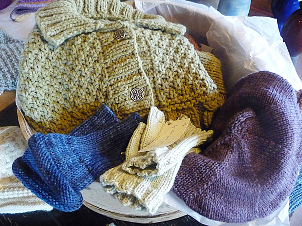 A bowl full of hand knits by local artisans at The Red Sleigh.  BANGOR DAILY NEWS PHOTO BY SHARON KILEY MACK