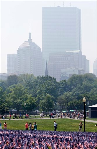 The Boston skyline is seen through a smoky haze caused by forest fires burning in northern Quebec, Monday, May 31, 2010, in Boston. (AP Photo/Michael Dwyer)