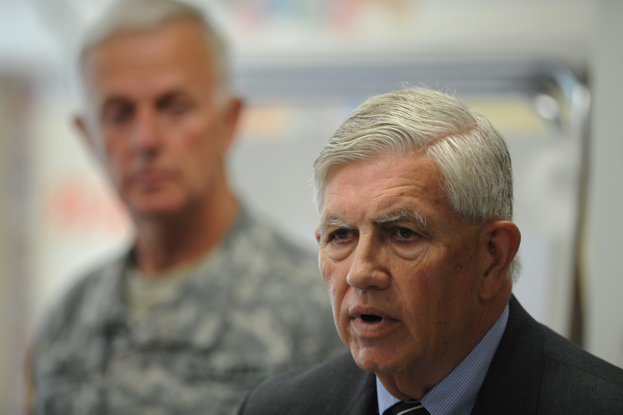 Major General Nelson E. Durgin (U.S. Air Force, Ret.), right, speaks to members of the press at 14th Street School in Bangor on Wednesday, June 2, 2010. With Durgin is Major General John W. &quotBill&quot Libby (U.S. Army, Ret. and Maine adjutant general, Maine ArmyNational Guard), left, the pair were on hand to release a report that encouraging pre-school education in an effort to reduce dropout and arrest rates and therefore increase the number of students available to enlist in today's military. (Bangor Daily News/Kevin Bennett)