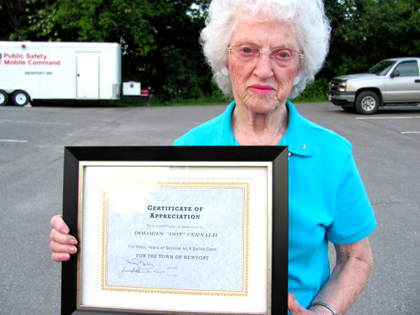 Dolores &quotDot&quot Fernald displays a certificate of appreciation she received Wednesday from the Newport Board of Selectmen.  BANGOR DAILY NEWS PHOTO BY CHRISTOPHER COUSINS