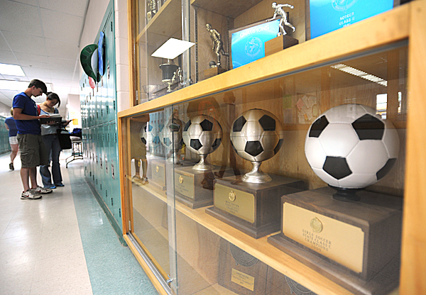 Championship soccer trophies line a case at George's Valley High School in Thomaston on Wednesday, June 2, 2010.  George's Valley of Thomaston and Rockland High School will soon be a consolidated, leaving some student-athletes with no team.  BANGOR DAILY NEWS PHOTO BY KEVIN BENNETT