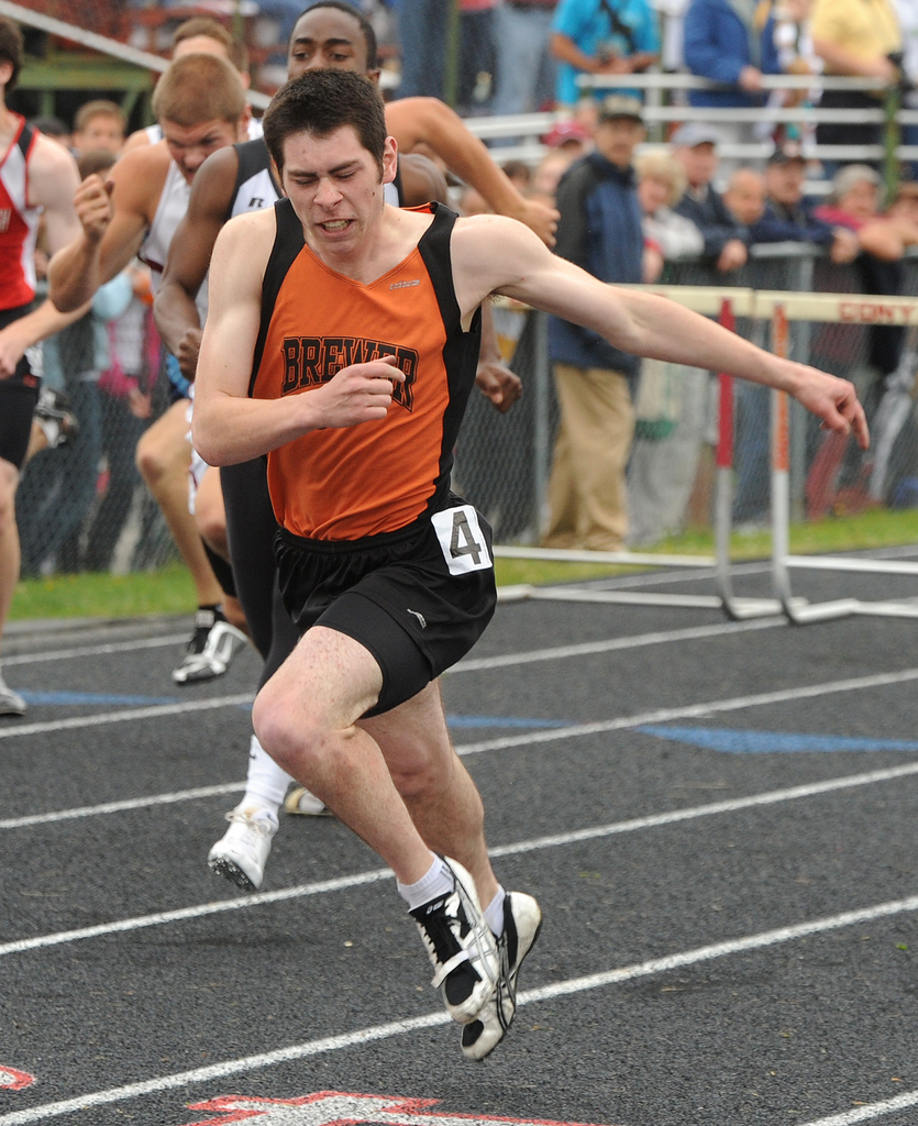 Brewer High School's Steven Rice won the 110-meter hurdles during the Class A State Track Meet at Cony High School in Augusta on Saturday.  Rice's time was 15.06 seconds. Buy Photo