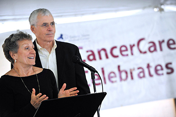 Connie McCarthy and husband and Dan McCarthy of Bangor relate their personal  experiences with cancer as they speak to fellow cancer survivors during Eastern Maine Medical Center's CancerCare of Maine annual Cancer Survivor Day celebration on Bangor's waterfront Sunday, June 6, 2010. (Bangor Daily News/John Clarke Russ)