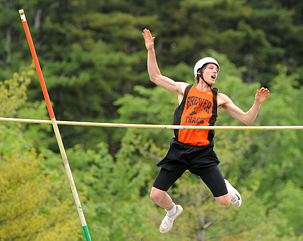 Brewer High School's Tristan Vortman reacts as he failed to clear the 13 foot height during the Class A State Track Meet at Cony High School in Augusta Saturday.  Vortman finished third in the pole valt compeition with the height of 12 foot six inches.  BANGOR DAILY NEWS PHOTO BY GABOR DEGRE