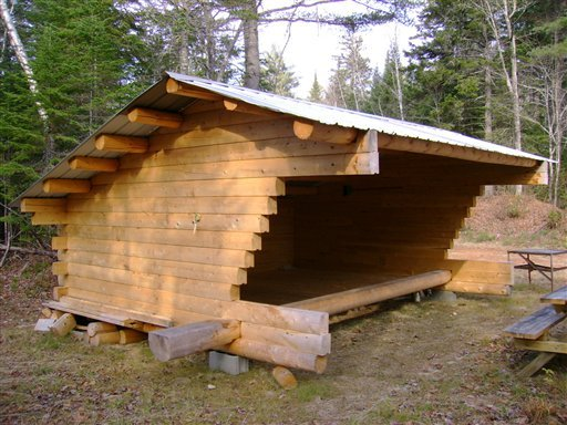 FILE--In this Nov. 2009, file photo, a three-sided lean-to is seen on the International Appalachian Trail at the Wassataquoik campsite just east of Baxter State Park in Township 4, Range 8, Maine. (AP Photo/Walter Anderson/file)