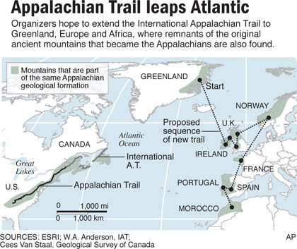 Maine To Morocco Appalachian Trail To Leap Abroad News - Appalachian trail us map