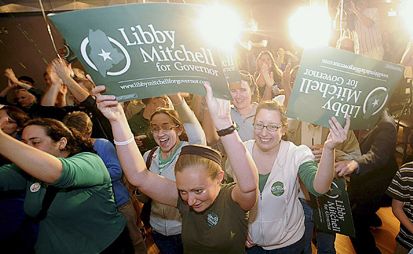 Supporters of Libby Mitchell, Democratic candidate for governor, celebrate her primary victory at her election party in Portland Tuesday evening. (Bangor Daily News/ Gabor Degre)