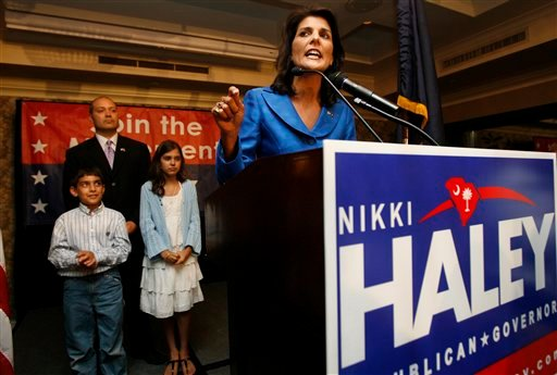 Rep. Nikki Haley, R-Lexington, took the majority of the GOP vote in the gubernatorial primary and gives a victory speech to supporters at the Capital City Club in Columbia, S.C., on Tuesday, June 8, 2010.  (AP Photo/Rich Glickstein - The State)