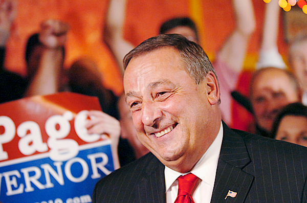 Republican gubernatorial candidate Paul LePage celebrates his lead in the polls with supporters in Waterville during an election watch party Tuesday, June 8, 2010. BANGOR DAILY NEWS PHOTO BY BRIDGET BROWN