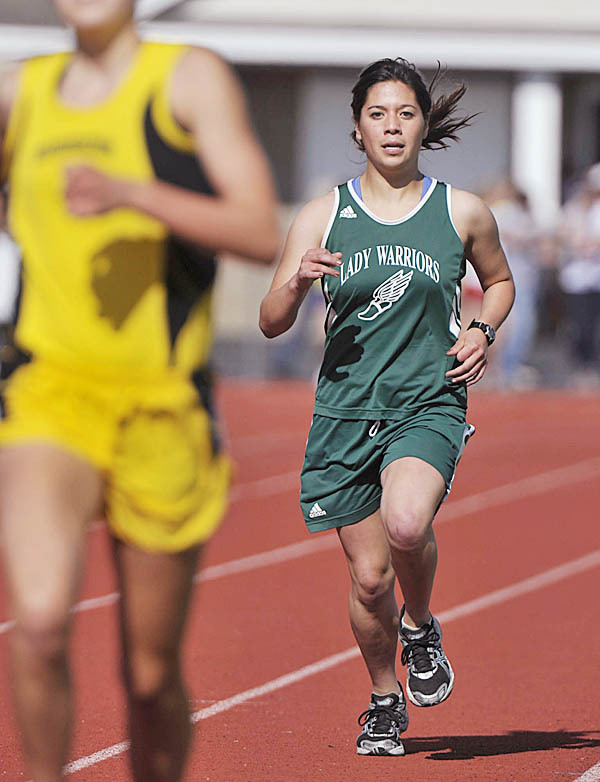 It was a second place finish for Fort Kent's Gabby Naranja in the girl's 1600m run at the State CLass C Meet in Dover Foxcroft, Maine, Wed., June 9, 2010. BANGOR DAILY NEWS PHOTO BY MICHAEL C. YORK