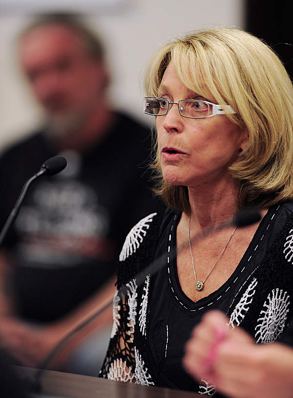 Kathy Baldacci owner of an apartment complex located across the street from Diva's gentlemen's club in Bangor speaks out on Wednesday, June 9, 2010 against  Diane Cormier's request to relax rules concerning nude entertainment and alcohol at Cormier's club. BANGOR DAILY NEWS PHOTO BY KEVIN BENNETT