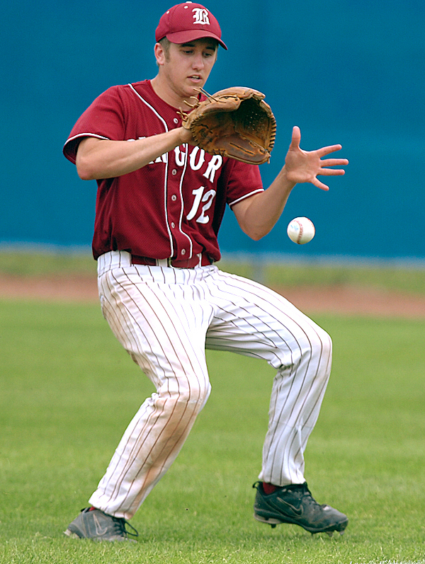 Bangor's Nate Lewis bobbles the ball while fielding a hit in the fourth inning against Brewer at Mansfield Stadium on Saturday, June 12, 2010. Brewer defeated Bangor 2-0.  BANGOR DAILY NEWS PHOTO BY KEVIN BENNETT