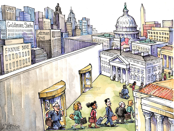 "This artwork by Matt Wuerker relates to the ""revolving door"" between federally regulated financial institutions and the agencies that regulate them."
