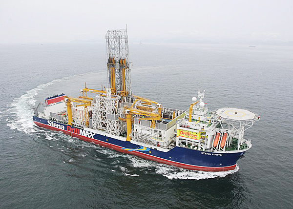 A 748 foot ultra deepwater oil drilling ship will come to Maine later this month where it will be repaired while at anchor in Penobscot Bay.  The Stena Forth is designed to drill deepwater exploratory wells up to 10,000 feet deep while using six thrusters to hold the ship in place.  Due to engineering problems, the thrusters, made by Rolls Royce, are being replaced just a year after the ship was put into service.