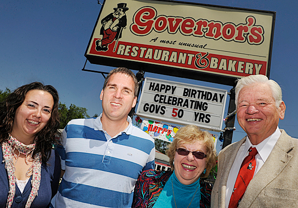 GOVERNING FAMILY : The Wadleigh Family at their Governor's Restaurant  Old Town location Tuesday, June 15, 2010. From right: Leith and Donna Wadleigh (who founded the restaurant in 1960) and their son Randy Wadleigh (current CEO of the Governor's Restaurant chain) and Randy's  wife Angela Wadleigh (far left). BANGOR DAILY NEWS PHOTO BY JOHN CLARKE RUSS