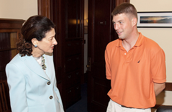 WASHINGTON, D.C. ? U.S. Senator Olympia J. Snowe (R-Maine) WEdnesday, June 16, 2010 paid tribute to Private First Class (PFC) Andrew ?Andy? Chic, 23, of Hampden for his exceptional bravery and heroism in Afghanistan as a member of Bravo Company, Third Battalion of the 172 Infantry Division, Maine National Guard.  PFC Chic suffered serious shrapnel wounds when his unit was ambushed by insurgents on May 23, 2010.  He is now recovering at Walter Reed Army Medical Center in Washington, D.C. Senator Snowe had previously spoken to PFC Chic by phone on June 1, 2010. (Photo courtesy of Sen. Snowe office)
