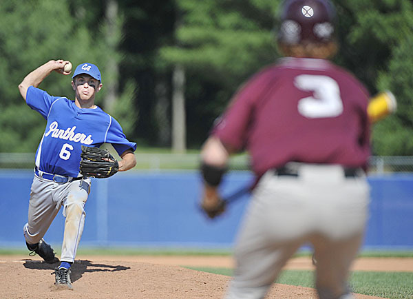 Central Aroostook's Mitch Folsom, (6), delivers a pitch to Richmond's Eric Dowd, (3), who shows Folsom a bunt attempt in the sixth inning of their game  at Mansfield Stadium for the State Class D CHampionship, Saturday, June 19, 2010. BANGOR DAILY NEW PHOTO BY MICHAEL C. YORK