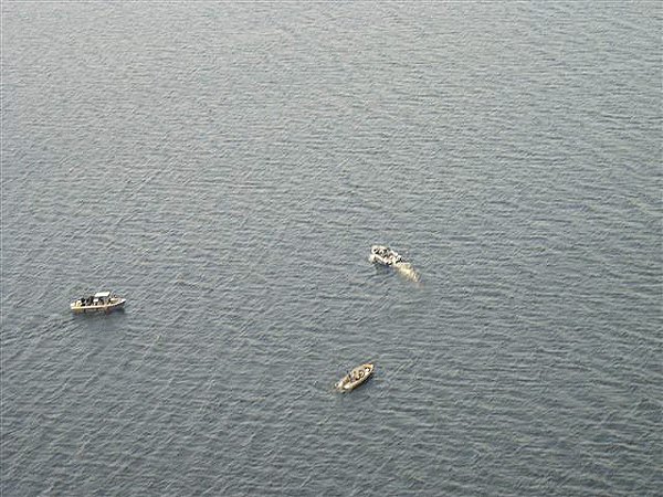 An aerial shot from a Maine Warden Service plane shows the area being searched for a missing boater, Scott James, 40, of Princeton, by three Maine Warden Service boats. (Photo Courtesy of Maine Department of Inland Fisheries and Wildlife)