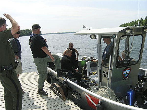 Maine Warden Service wardens and a dive team prepare to search Big Lake for Scott James, 40, of Princeton in Washington County Sunday. (Photo Courtesy of Maine Department of Inland Fisheries and Wildlife)