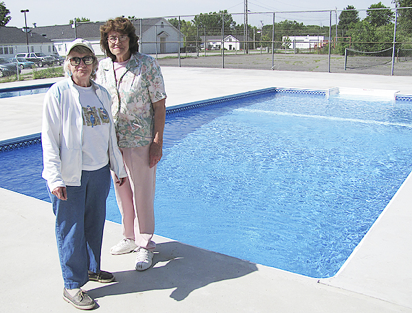 Barbara Day, left, and Shirley Humphrey, members of the Hartland Pool Committee shown in this June 22, 2010 photo, say only a few thousand more dollars is needed in order to open the two swimming pools owned by the town. The sooner they receive the donations they need, the sooner the pools, located next to the Hartland Community Center and Hartland Consolidated School, can open. (Bangor Daily News/Christopher Cousins)
