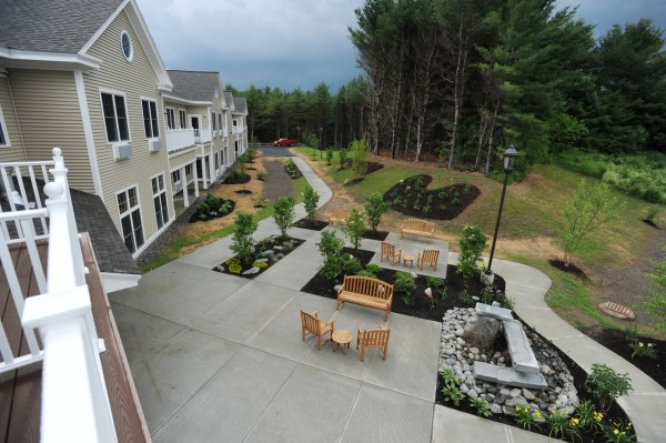 A view looking off one of the back second floor decks at the new Sylvia Ross Home at Ross Manor assisted living apartments in Bangor on June 24, 2010. (Bangor Daily News/Kevin Bennett)