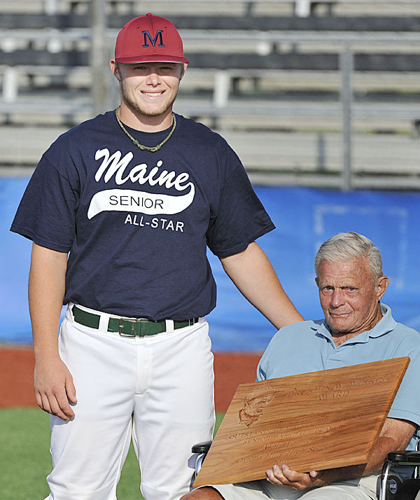 Matt Verrier, Maine's Mr Baseball 2010, with Dr John Winkin at the East West All Star game in Orono, Friday, June 25, 2010. BANGOR DAILY NEWS PHOTO BY MICHAEL C. YORK