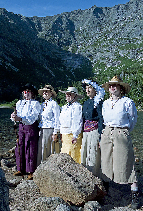 Five women set out from Chimney Pond on Katahdin in 1890's clothing to re-enact early women climbers on the mountain. They are left to right, Holly Hamilton, Barbara Bentley, Marsha Donahue, Donna Gordon, and Rachael Story.All Photos Courtesy of Bill Bentley.