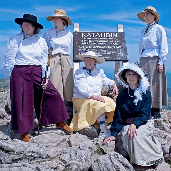 Left to right, Holly Hamilton, Rachael Story, Marsha Donahue, Donna Gordon and Barbara Bentley take in the view from the Baxter Peak last Tuesday. The five were re-enacting early female climbers on the mountain, dressed in 1890's attire.  All Photos Courtesy of Bill Bentley.