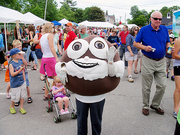 Sweetie Pie, mascot of the Maine Whoopie Pie Festival, works the crowd at the festival,  held Saturday, June 26 in Dover-Foxcroft. BANGOR DAILY NEWS PHOTO BY EMILY BURNHAM