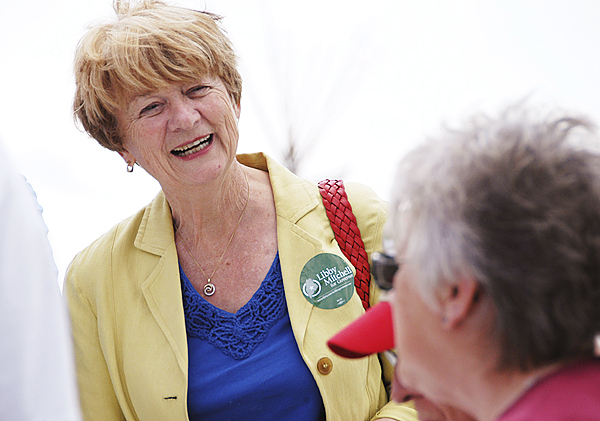 Libby Mitchell meets residents at the Maple Meadow Farm Festival on Mapleton Road in Mapleton on Saturday. BANGOR DAILY NEWS PHOTO BY NICK SAMBIDES JR.