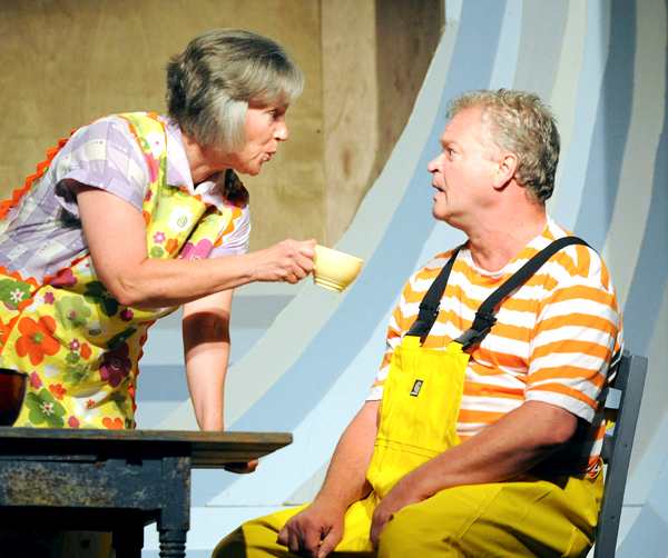 Suzanne Ruch as Leela (left) and Daniel Noel as Burt Dow during rehearsal at the Stonington Opera House of Robert McCloskey's &quotBurt Dow, Deep Water Man&quot Wednesday, June 23, 2010.  (Gabor Daily News/Gabor Degre)