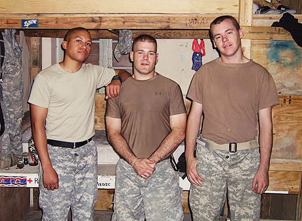 The middle soldier is Staff Sgt. Eric Shaw, 31, who grew up in Exeter and was killed Sunday, June 27, 2010 by enemy fire while serving in Afghanistan with the 327th Infantry, First Brigade Combat Team from Fort Campbell, Ky.  (Photo from Shaw's MySpace page)