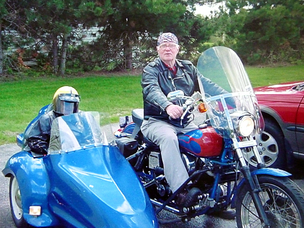 Jim Meehan, 82, of Harrington, and a friend are shown in this family photo riding his 1976 Harley Davidson motorcycle, which was stolen earlier this week. Meehan said &quotIt's like losing a child.&quot  PHOTO COURTESY OF JIM MEEHAN