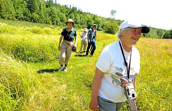 Pat Snyder, right, and Fields Pond Audubon Center founding director Judy Kellogg Markowski, left,  led the North American Butterfly Count at Fields Pond Audubon Center in Holden Saturday afternoon, July 3, 2010. The butterfly count has been a 7.5 mile radius with Fields Pond in the center and provides butterfly population trend data. (Bangor Daily News/John Clarke Russ)