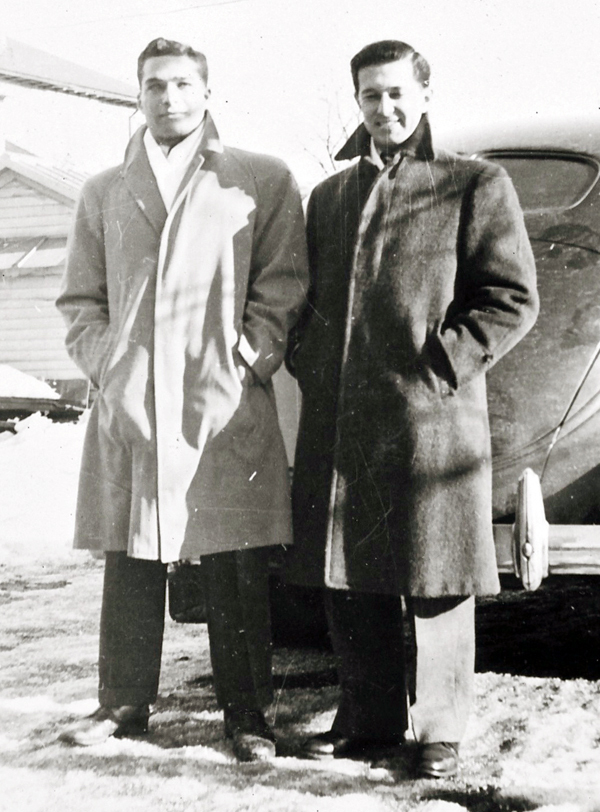 High school friends Hugh Aaron (left) and Len Gallant are seen in this 1946 photograph in Worcester, Mass., one year after returning home at the end of WWII. The two restarted their comic strip collaboration, which began in 1959, fifty years later and are planning to release a new comic each week on their website, http://zoofky.com. (Photo Courtesy of Hugh Aaron)