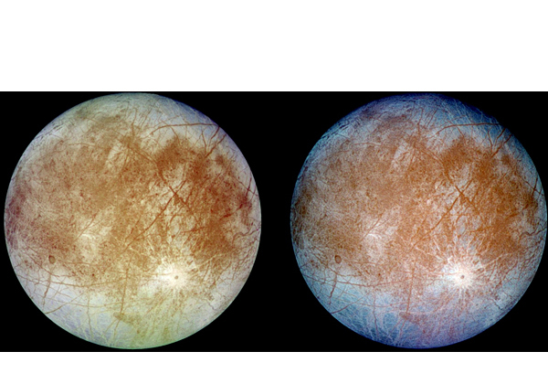 Natural and false color views of Jupiter's moon Europa taken by the Galileo spacecraft in 1997.  A liquid ocean is believed to lie under the shell of ice that encloses Europa.    PHOTO COURTESY OF NASA
