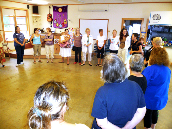 Women gathered in a circle at the start of Saturday's 2nd Annual Beautiful Day, held at the Cobscook Community Learning Center in Trescott. They introduced themselves and told their stories, sharing what they believed made them and their journey special. The event, which drew about 40 participants from Maine and Canada, was a celebration of the beauty of women and girls and featured empowering workshops and creative sessions.  BANGOR DAILY NEWS PHOTO BY SHARON KILEY MACK