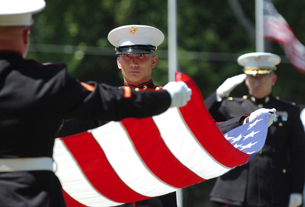 Military funeral honors former Marine