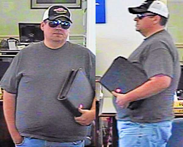 FBI-Boston has released these photos of the &quotBurly&quot Bandit, believed responsible for at least ten robberies in four states. This photo: Somers, Conn., June 24, 2010. (FBI photos)