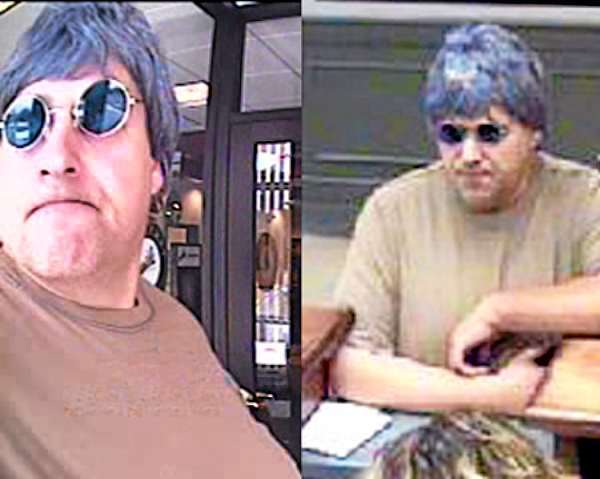 FBI-Boston has released these photos of the &quotBurly&quot Bandit, believed responsible for at least ten robberies in four states. This photo:  Hampdstead, N.H., June 1, 2010. (FBI photos)