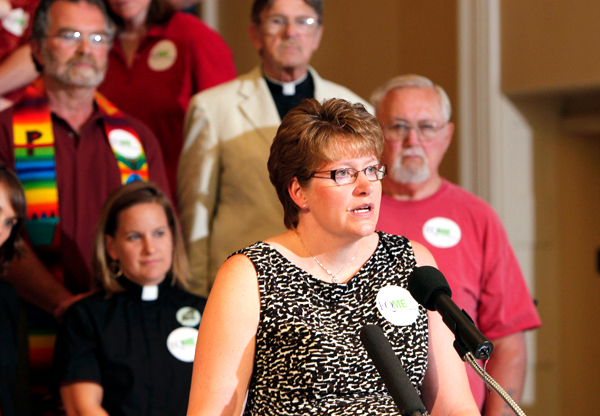Bev Uhlenhake of Bangor, Maine, speaks in favor of same-sex marriage at a news conference at the State House, Wednesday, July 14, 2010, in Augusta, Maine. (AP Photo/Robert F. Bukaty)