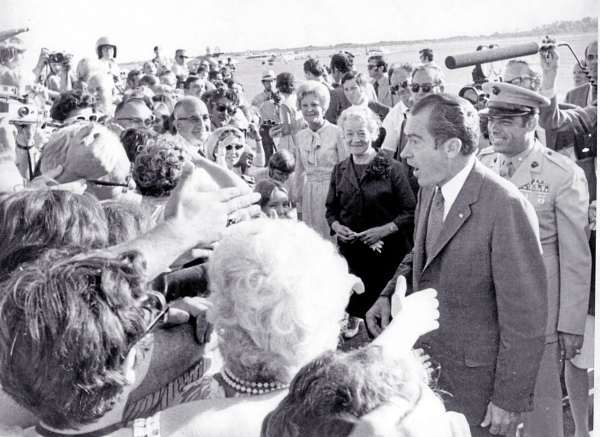 President RIchard M. Nixon greeting wellwishers on his arrival at Bangor International Airport. The Nixon family had just landed on their way to a  weekend vacationing at the home of Jack Dreyfus on tiny Minot Island off the coast of Maine in August 1971  BANGOR DAILY NEWS PHOTO